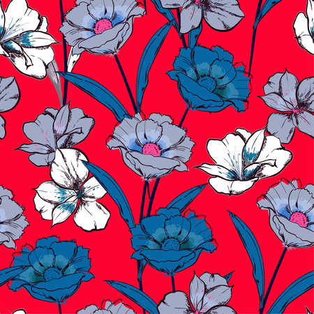 Beautiful summer Hand drawn sketch blooming flowers in the garden floral repeat seamless pattern in vector design for fashion , fabric web, wallpaper and all prints on fresh red background color Standard-Bild - 124652203
