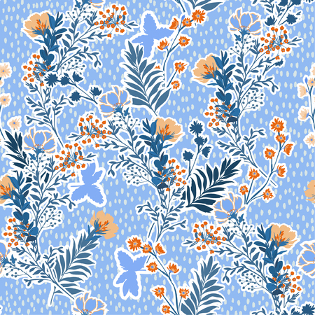 Vector illustration of a hand drawn meadow flowers and leaves. Seamless vector pattern with hand paint polkadots design for fashion , fabric, web, wallpaper, and all prints on light blue Standard-Bild - 124652204