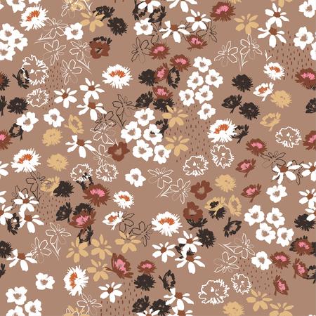 Modèle sans couture vintage en jolies petites fleurs colorées. Conception de fleurs de prairie fleurie de style Liberty pour la mode, le tissu, le papier peint, le Web et toutes les impressions sur une couleur de fond marron élégante Vecteurs