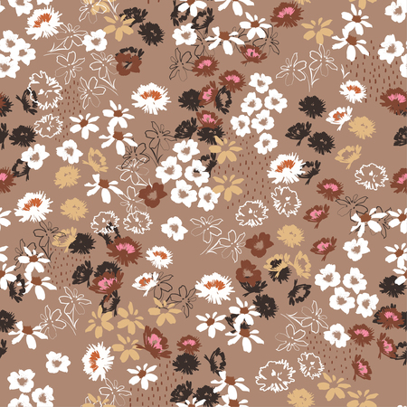Vintage Seamless pattern in colorful small pretty flowers. Liberty style blooming meadow florals design for fashion , fabric , wallpaper , web and all prints on stylish brown background color