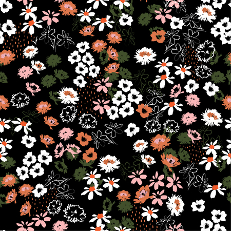 Beautiful colorful Flowery colorful pattern in small-scale flowers. Liberty style .Floral seamless background design for fashion , fabric,wallpaper,web and all prints on black