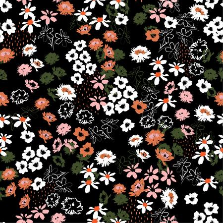 Bellissimo motivo colorato fiorito colorato in fiori su piccola scala. Stile Liberty. Design floreale senza cuciture per moda, tessuto, carta da parati, web e tutte le stampe su nero