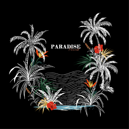 """""""Paradise found"""" Summer background with dark tropical and hibiscus flowers for holiday, vacation design on black background.Elegant floral vector design for Tshirt and all graphic"""