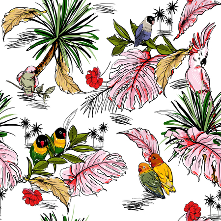 Schizzo di vettore di estate brillante. Reticolo senza giunte disegnato a mano con foresta tropicale selvaggia e uccelli esotici con foglie di palma. Design per moda, fabic, web, carta da parati e tutte le stampe su bianco Vettoriali