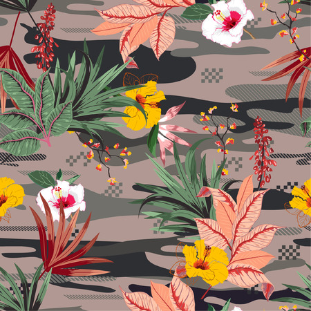 Trendy tropical forest ,palm leaves and exotic flowers on camou flage seamless pattern vector,design for fashion,fabric,wallpaper,and all prints Ilustração Vetorial