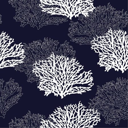 Modern seamless hand drawn coral pattern vector illustration design for fashion ,fabric,wallpaper,web and all prints on navy blue background color