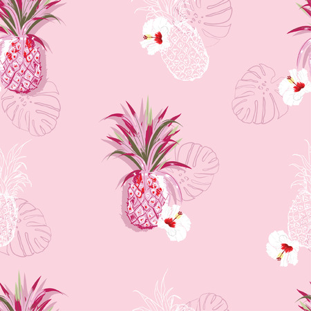 Summer sweet seamless pattern of pineapple and hibiscus exotic flowesr in hand drawn line style design for fashion,fabric,wallpaper,web,and all prints on sweet pink background color