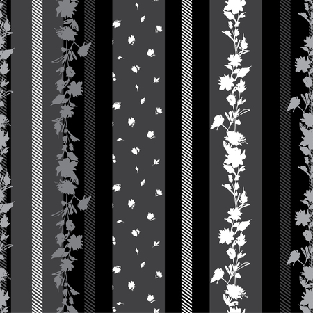 Modern vertical black and grey Seamless pattern with delicate Floral with stripes amd pattern small flowers mixed wallpaper.Design for fabric, textile, wrapping paper pattern