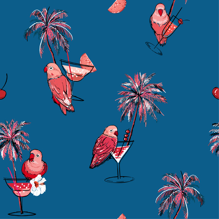 Tropical seamless pattern. Hand drawn palm trees, cocktail, pink parrots bird, summer birds on summer deep ocean blue background. Illustration