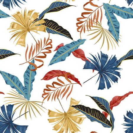 Modny wektor bezszwowe piękny artystyczny jasny tropikalny wzór z egzotycznego lasu. Kolorowy oryginalny stylowy kwiatowy nadruk w tle, jasne kolory tęczy na białym tle