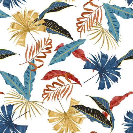 Trendy vector seamless beautiful artistic bright tropical pattern with exotic forest. Colorful original stylish floral background print, bright rainbow colors on white background color