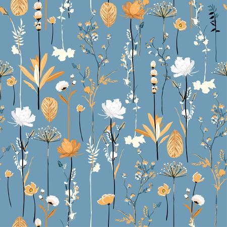 Morbido e delicato giardino botanico in fiore fiori senza cuciture ripetizione verticale in disegno vettoriale per tessuto, moda, tessuto, web, carta da parati, tutte le stampe su azzurro