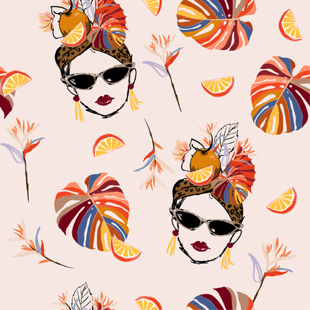 Hand drawn and sketch tropical havana women summer vibes with fresh fruit seamless pattern in vector design for fashion,fabric,web,wallpaper and all prints on light pink background color