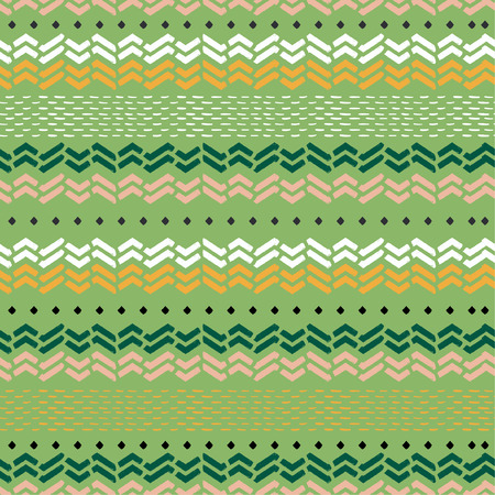 Seamless pattern in vector beautiful hand drawn chevron zigzag waves in horizontal stripe . Design for fashion,fabric,web,wallpaper, and all prints on light green background color