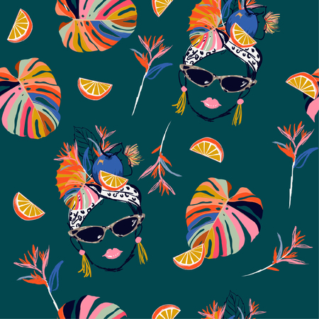 Hand drawn and sketch tropical havana women summer vibes with fresh fruit seamless pattern in vector design for fashion,fabric,web,wallpaper and all prints on dark green background color