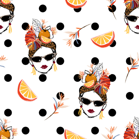 Beautiful hand sketch tropical havana women summer vibes with fresh fruit seamless pattern in vector on modern polka dots design for fashion,fabric,web,wallpaper and all prints in white background color