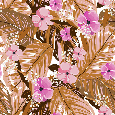 Vintage exotic layer of summer leaves and blooming flowers seamless pattern in vector design for fashion,web,wallpaper,fabric and all prints on beige color tone
