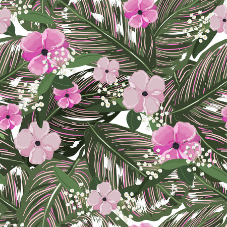 Fresh green tropical leaves, with flower background. Floral seamless pattern in vector. Greenary Tropical illustration.Paradise nature design for fashion,fabric,web,wallpaper and all prints