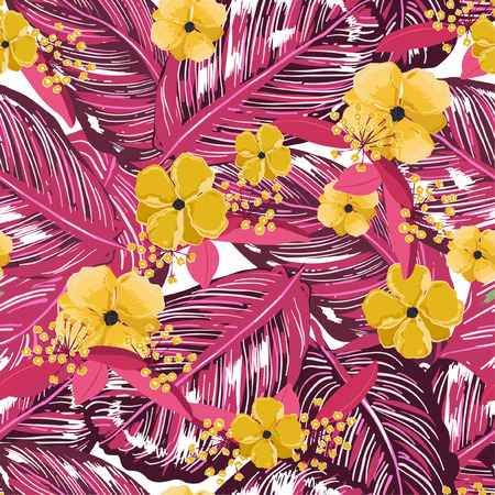 Beautiful exotic layer of summer leaves and blooming flowers seamless pattern in vector design for fashion,web,wallpaper,fabric and all prints on light purple color tone Ilustração