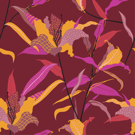 Seamless pattern vector hand drawn lily flower fill in with line and polka dots sketch ,Design for fashion fabric and all prints on maroon background color Ilustracja