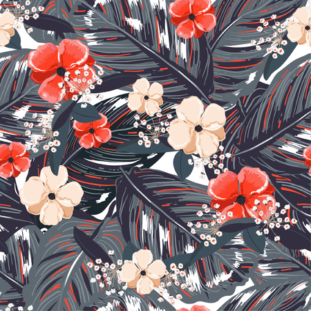 Tropical leaves, with red flower background. Floral seamless pattern in vector. Greenary Tropical illustration.Paradise nature design for fashion,fabric,web,wallpaper and all prints Illustration