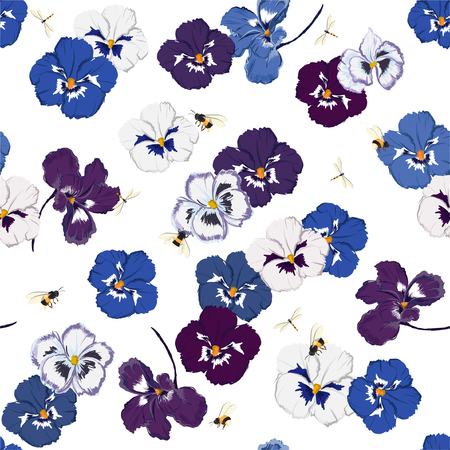 Trendy Colorful Seamless pattern in vector pansy flower with dragonfly and bumble bess ,Design for fashion,fabric,web,wallpaper,and all prints on white background color Vettoriali