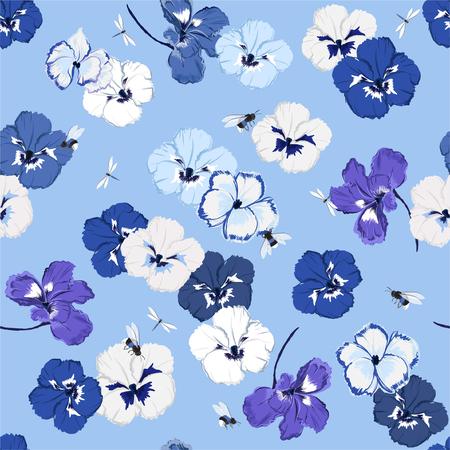 Modello senza cuciture blu monotono in fiore viola del pensiero vettoriale con libellula e calabrone, design per moda, tessuto, web, carta da parati e tutte le stampe su colore di sfondo azzurro cielo