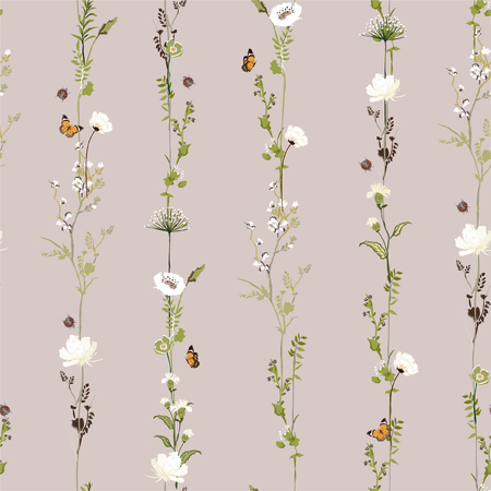 Retro Stripe vertical row garden flower botanical seamless pattern in vector stylish illustration design for fashion,fabric,web,wallpaper and all prints on light beige  background color Stock Illustratie