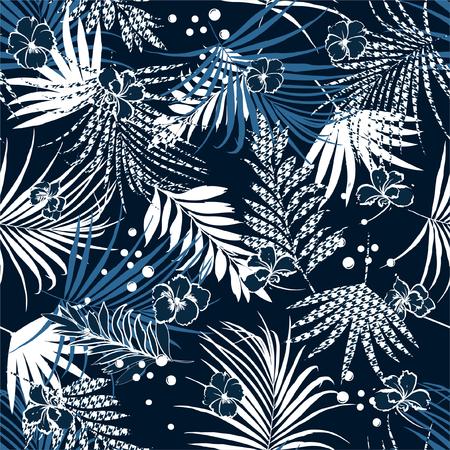 Noche de verano tropical de patrones sin fisuras con flores y hojas de relleno de pata de gallo Fondo de pata de gallo. Ilustración de vector de diseño azul marino para todas las impresiones