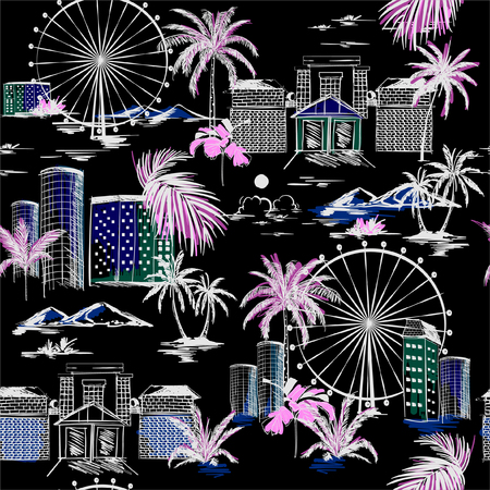 Trendy City in summer vibes seamless pattern hand sketch  Vector vacytion illustration  architecture, building,wheels,palm tree,mountain ,design for fashion,fabric,web,wallpaper,and all prints on black