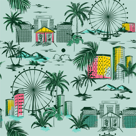 Beautiful City in summer vibes seamless pattern. Vector vacytion illustration  architecture, building,wheels,palm tree,mountain ,design for fashion,fabric,web,wallpaper,and all prints on light green mint