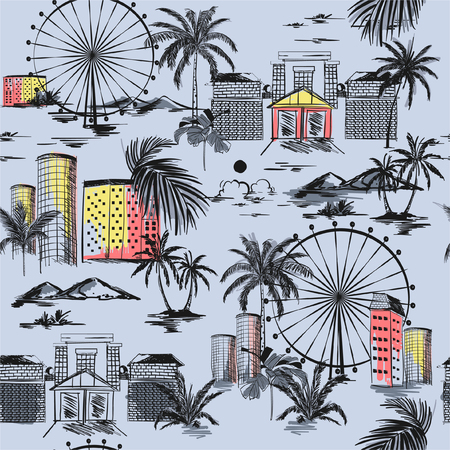 Summer mood with beach vibes palm trees and mountain Seamless pattern with hand drawn doodle city Vector illustration of urban vacation , design for card, posters, textile prints, covers, on light grey Illustration