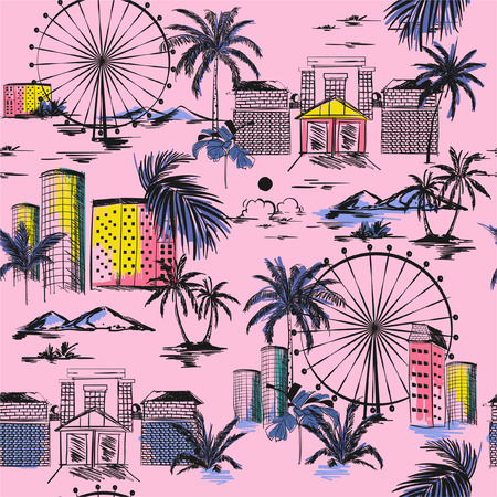 City in summer vibes seamless pattern. Vector vacytion illustration  architecture, building,wheels,palm tree,mountain ,design for fashion,fabric,web,wallpaper,and all prints on light pink