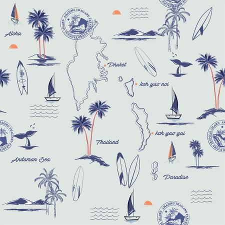 Modello isola senza soluzione di continuità su sfondo blu vintage. Paesaggio dell'isola di Phuket in Thailandia con palme, spiaggia e oceano vettore stile disegnato a mano. Vettoriali