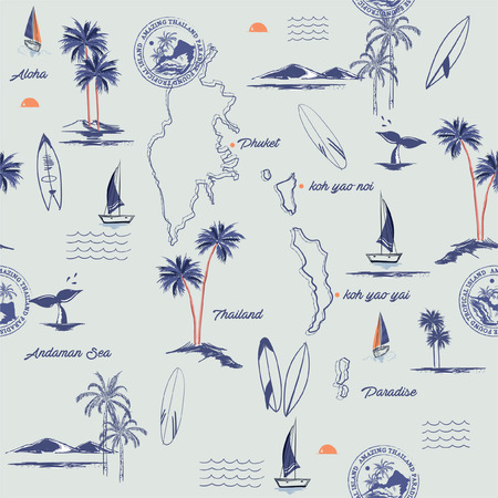 Seamless island pattern on vintage blue background. Landscape of Phuket island in thailand with palm trees,beach and ocean vector hand drawn style.