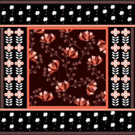 Beaufiful hand drawn florals and geometric flowers in scarf print style seamless pattern in vector design for fashion,fabric,web,wallpaper,wrapping and all prints on black background color  イラスト・ベクター素材