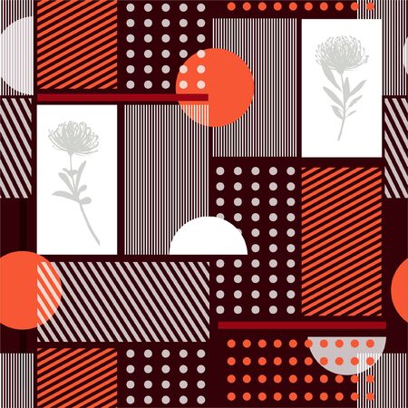 Beautiful  Geometry minimal seamless pattern simple shape and silhouette flowers and stripe modern vector pattern design for fashin ,fabric,web,wallpaper and all prints on dark maroon color 矢量图像