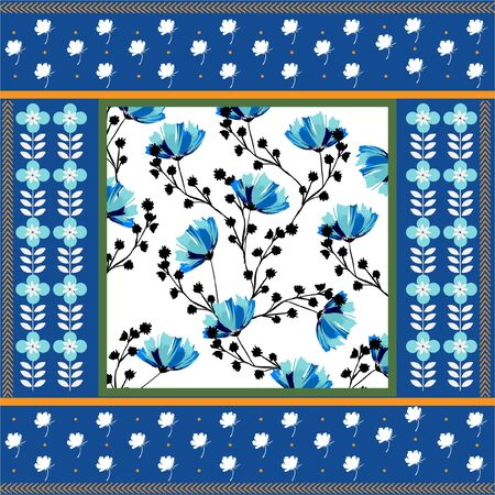 Trendy colorful hand drawn florals and geometric flowers in scarf print style seamless pattern in vector design for fashion,fabric,web,wallpaper,wrapping and all prints on fresh blue background color