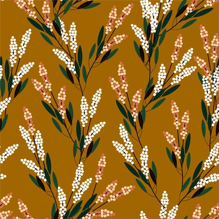 Retro Gemetric meadow flowers seamless pattern in small scale modern style design for fashion,fabric,prints,web,wallpaper ,and all prints on vintage brown background color