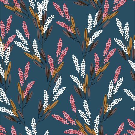 Gemetric meadow flowers seamless pattern modern style design for fashion,fabric,prints,web,wallpaper ,and all prints on dark vintage green background color Ilustração
