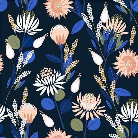 Bellissimi fiori di protea in fiore nel giardino pieno di piante botaniche senza cuciture in disegno vettoriale per moda, web, carta da parati, avvolgimento e tutte le stampe su colore di sfondo blu navy