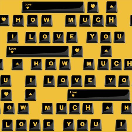 """Sealess pattern in vector Stylish Love with wording typo """"How much I LOVE you"""" in computer black keyboard form  design for valentines day ,fashion,fabric,and all prints on yellow background color Çizim"""