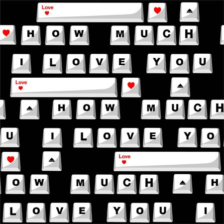 """Sealess pattern in vector Stylish Love with wording typo """"How much I LOVE you"""" in computer keyboard form  design for valentines day ,fashion,fabric,and all prints on black background color Çizim"""
