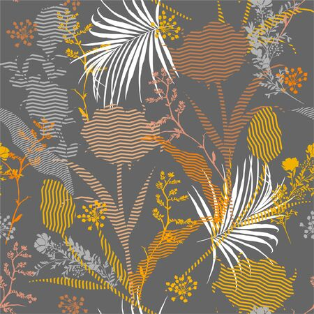 Seamless silhouette of botanical plants and floral fill in with zigzag striped Pattern on colorful garden mood  Print in vector Design for faashion,fabric,web,wallpaper and all prints on stylish grey background