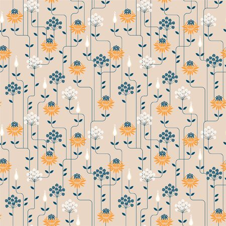 Vintage Flower geometric pattern with line . Seamless vector background.Ornament design for fashion fabric,web,wallpaper amd all prints on light beige background color Vector Illustration