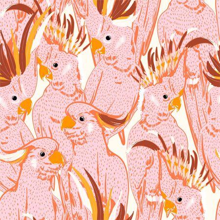Schattig Hand tekenen doodle witte schets roze kaketoe vogels naadloze patroon. Vector kunst illustratie. Ontwerp voor mode, stof, web, behang en alle prints op witte achtergrondkleur