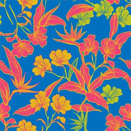 Colorful contrast Floral seamless pattern with yellow and pink  botanical flowers. vector illustration.On light blue background color Ilustração