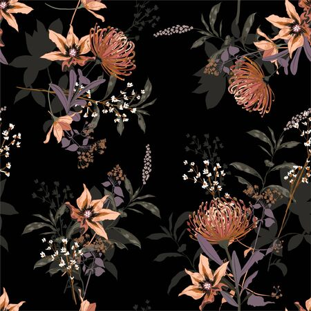 Stylish Blooming Floral in the  garden night seamless pattern in the many kind of  flowers. Botanical tropical. Seamless vector texture. Printing with in hand drawn style on black background.Design for all kind of prints