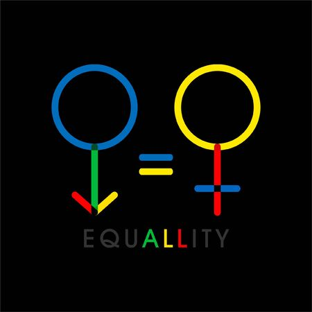 VECTOR gender equality with wording All hid in equality symbol, icon on black background Иллюстрация