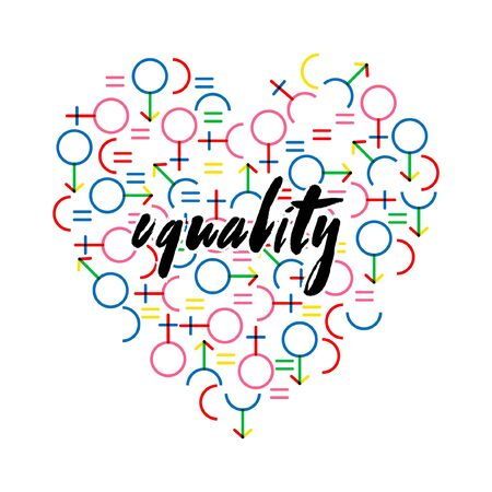 VECTOR colorful in rainbow color gender symbol create heart shape with hand bruised in Equality wording  on white background color